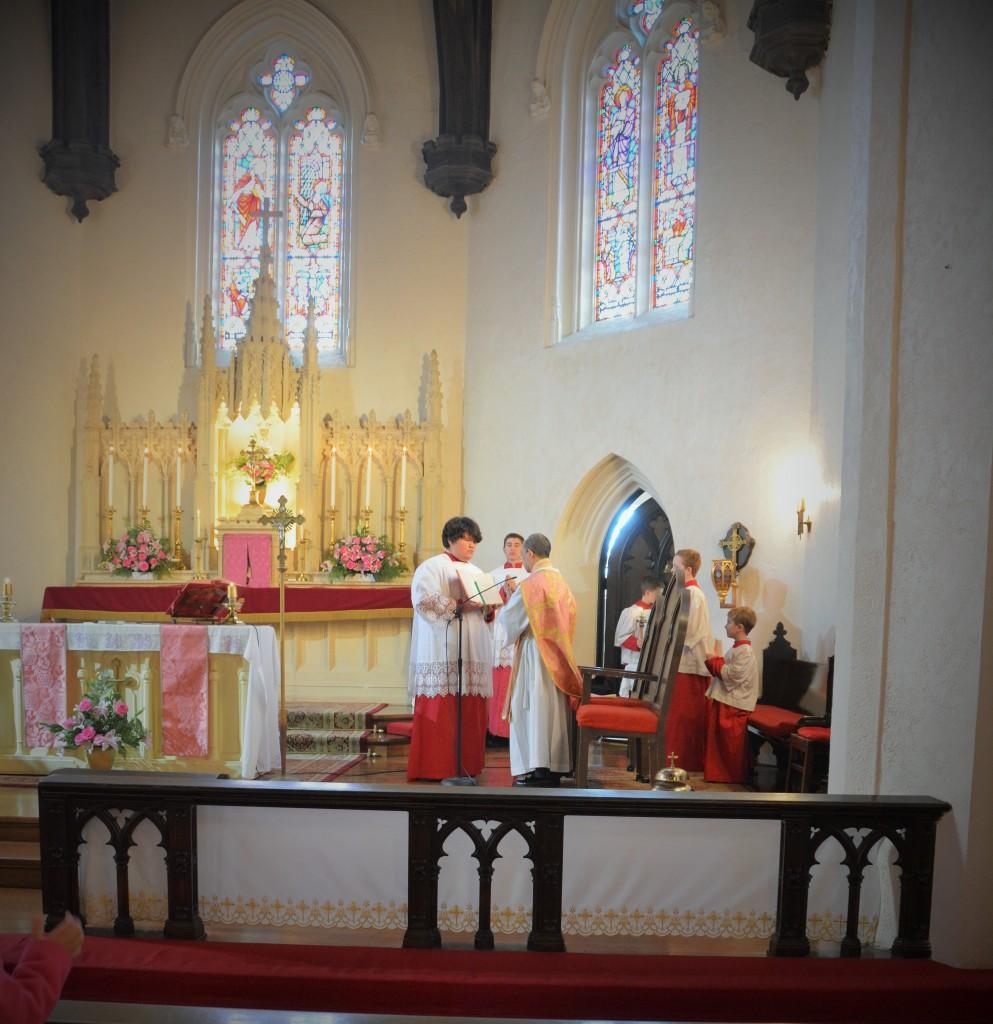 Altar servers pictured on Gaudete Sunday in Advent, 2015. Rev. Glenn Naguit celebrant. Photo credit Valerie Burkart