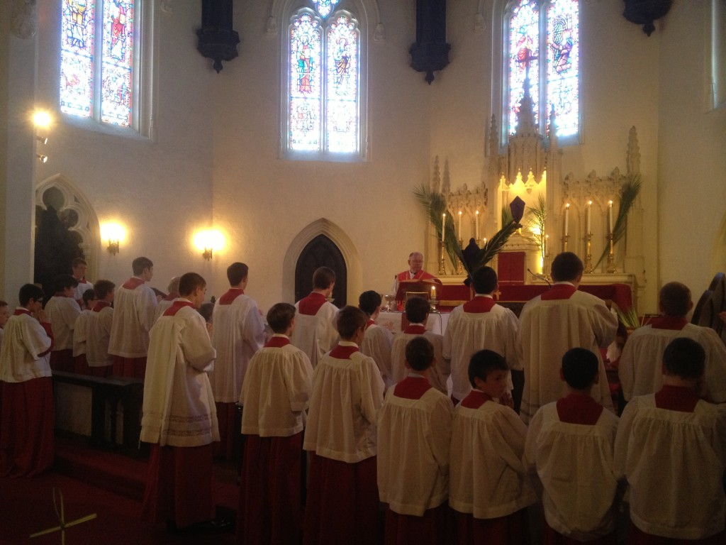 10:30 Novus Ordo High Mass Palm Sunday 2014 with 22 altar servers. The celebrant is Rev. David Link. Photo credit Valerie Burkart